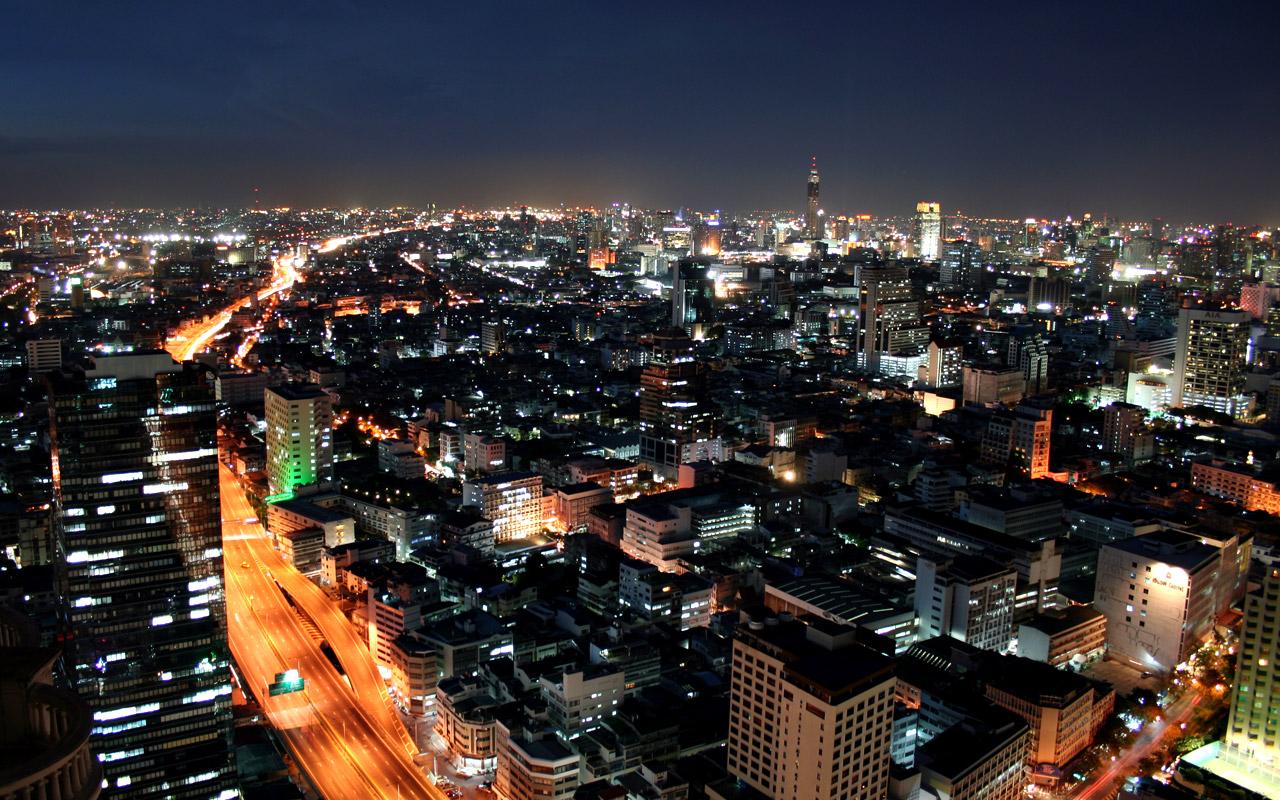 Bangkok at night, view from State Tower