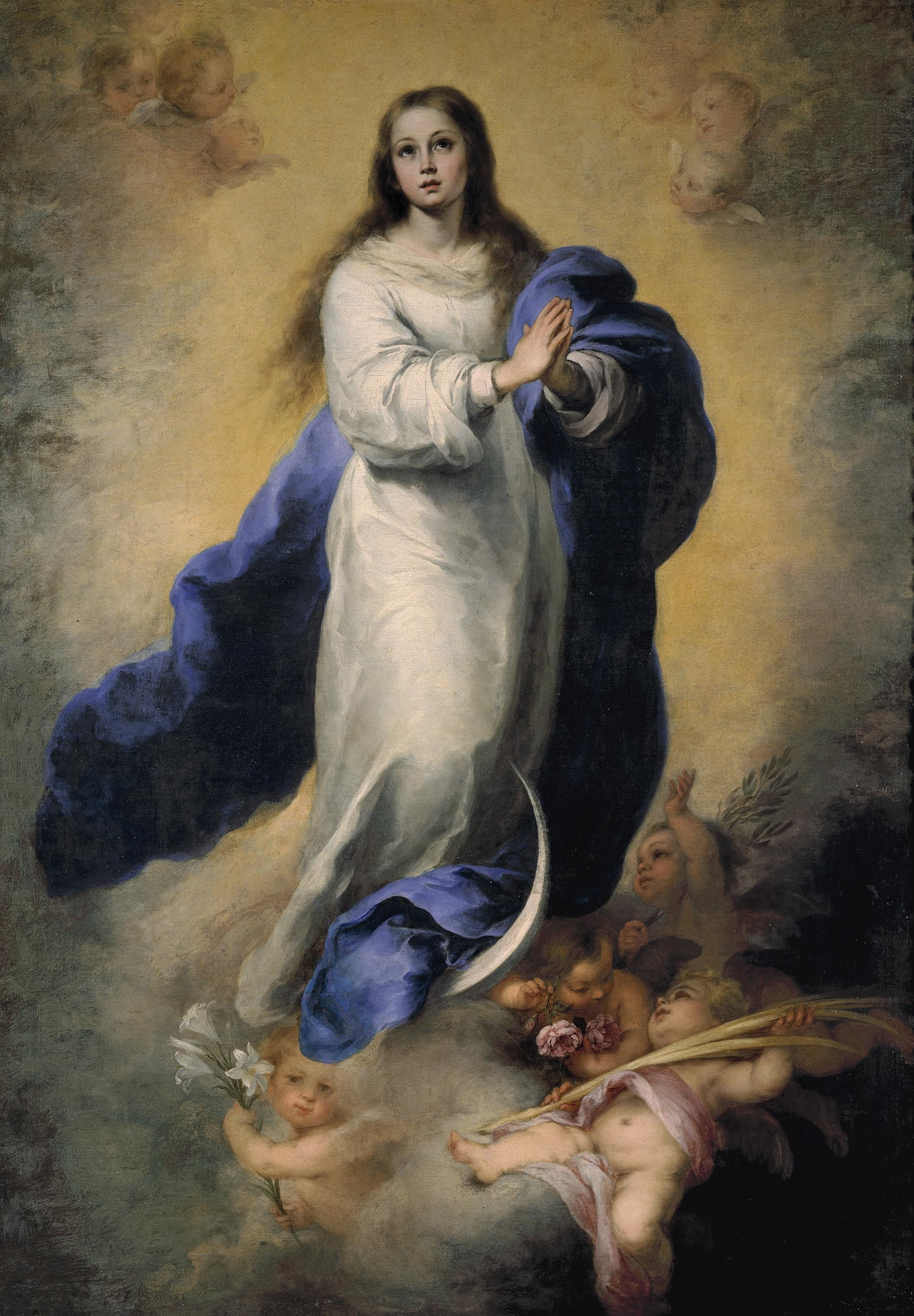 The Immaculate Conception, by Bartolome Murillo; taken from Wikipedia.  Click the image for more about the great Spanish baroque artist.