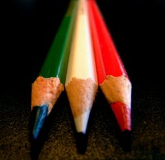 Italian flag made of pencils