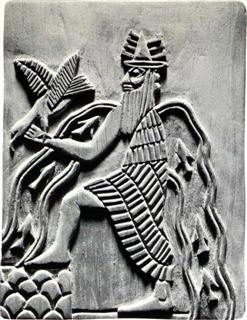 Image of the Sumerian god Enki, with character...