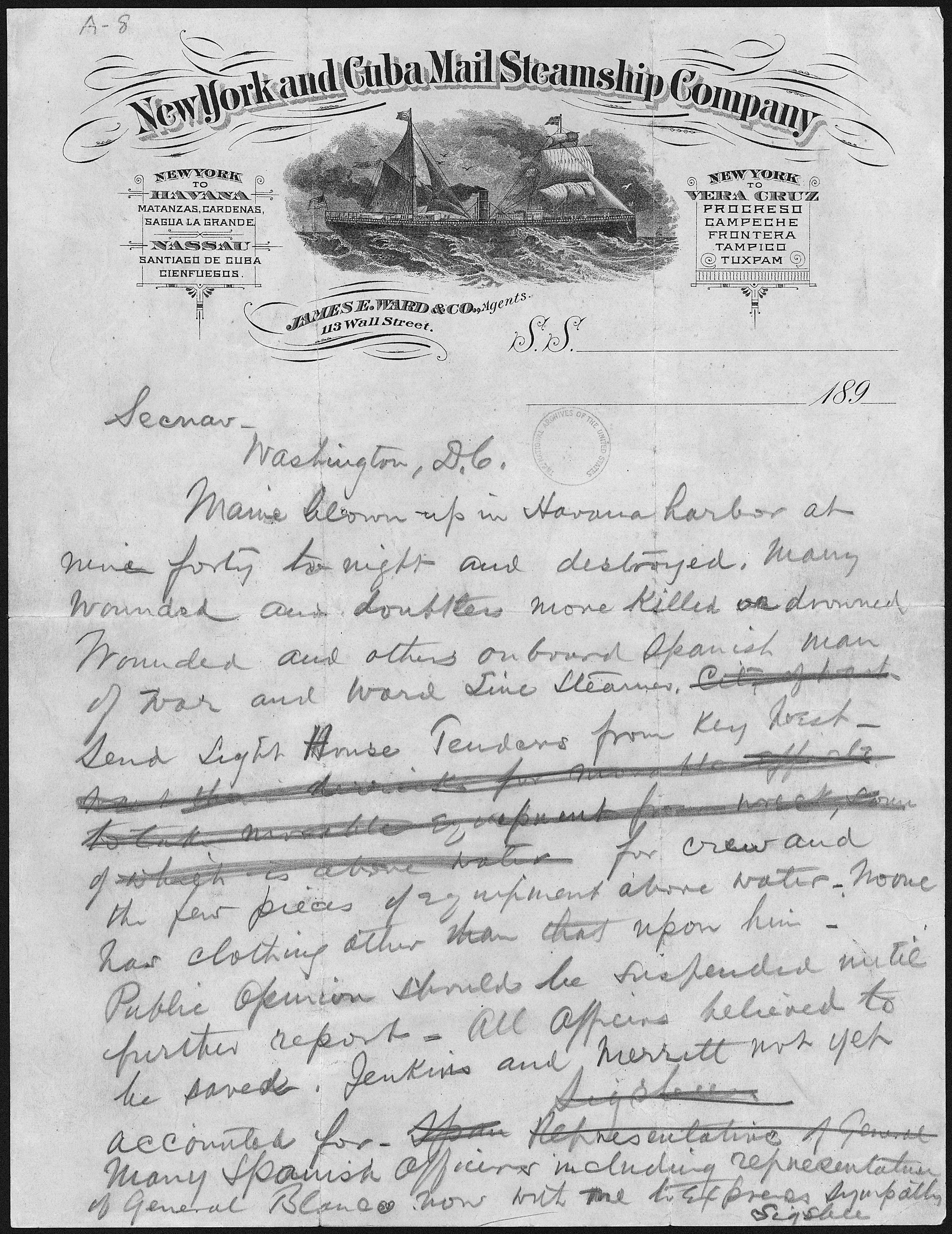 File Telegram From Captain Charles D Sigsbee Commander