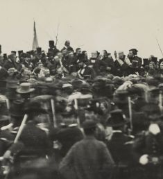 If I understand correctly, this is the only known image of Abraham Lincoln at the Gettysburg Cemetery dedication, three hours before he delivered his address.