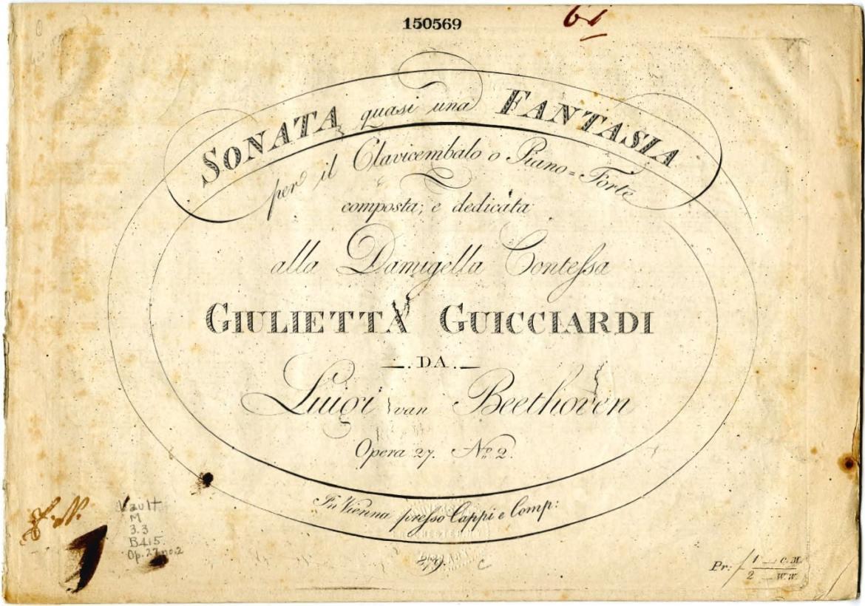 ピアノソナタ第14番 - 初版譜表紙 1802年