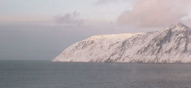 Big Diomede Island as seen from Little Diomede Island