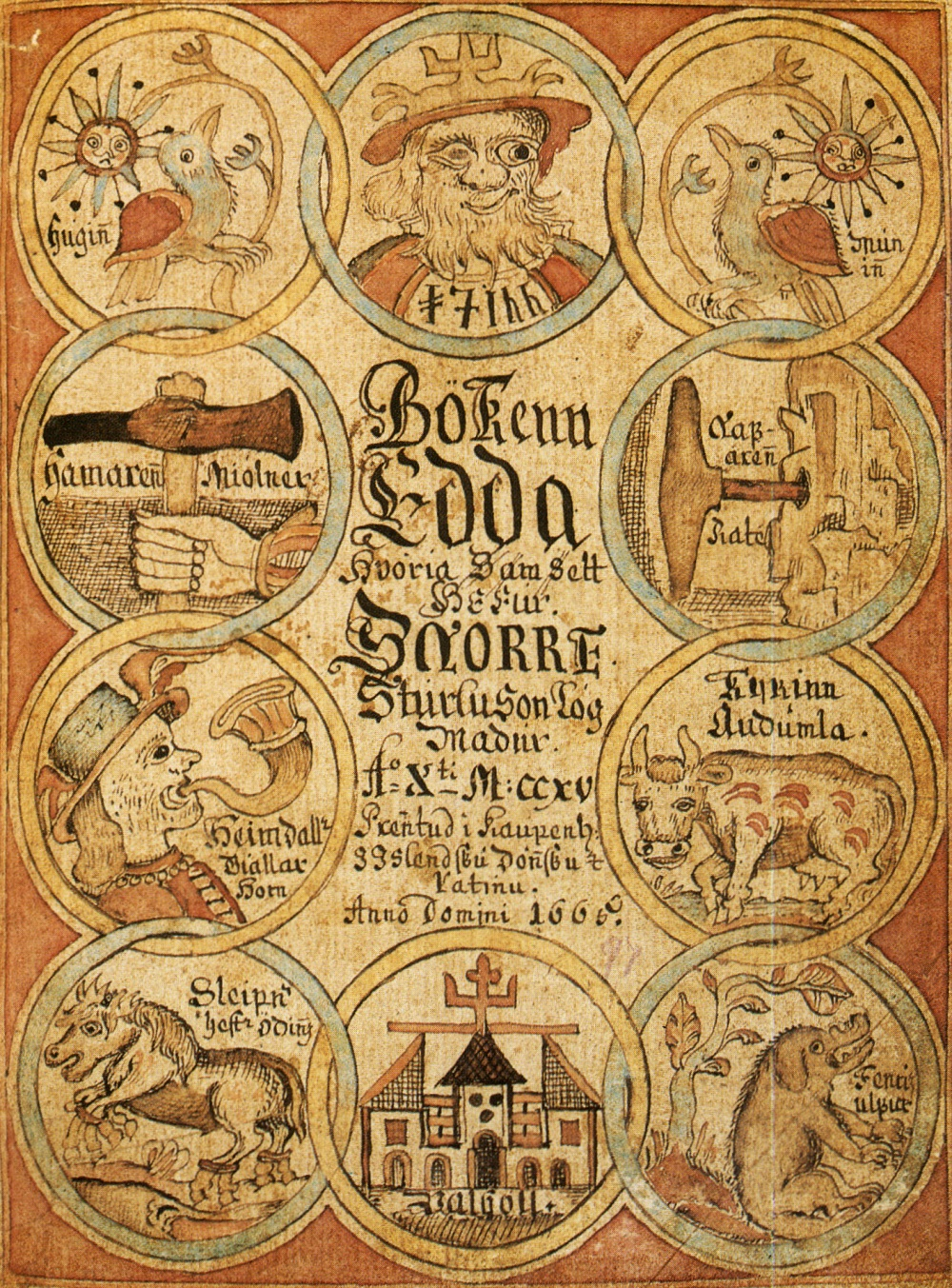 Title page of an 18th century manuscript of the Prose Edda, showing Odin, Heimdallr, Sleipnir and other figures from Norse mythology (Wikimedia Commons)