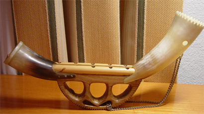 Alboka basque traditional music instrument.