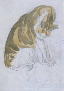 Cat Cleaning Itself (1904–1908), pencil and wa...
