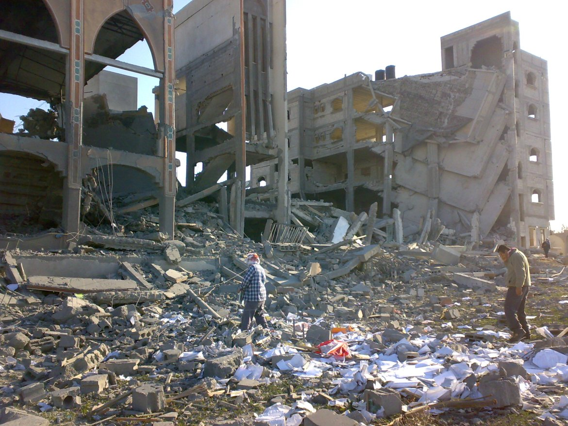 "Dar al-Fadila Association for Orphans, consisting of a school, computer center and mosque in Rafah serving 500 children, were destroyed by the Israelis during Israel's assault on Gaza. Image dated 12/1/09, found <a href=""https://commons.wikimedia.org/wiki/File:Orphanschoolmosque.jpg"">here</a>."