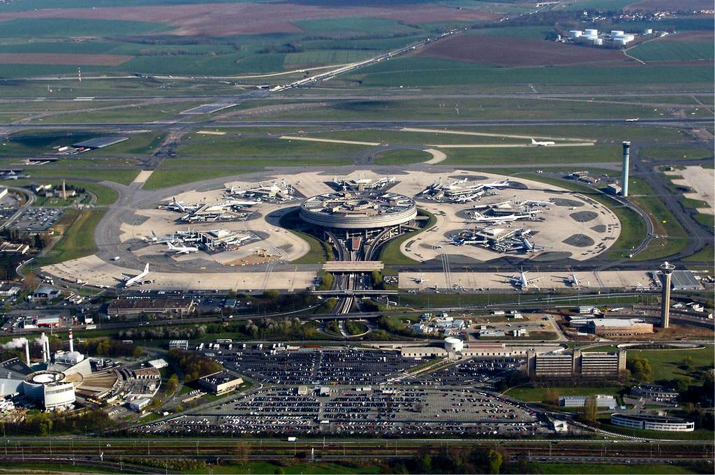 Airial view of Paris's CDG airport
