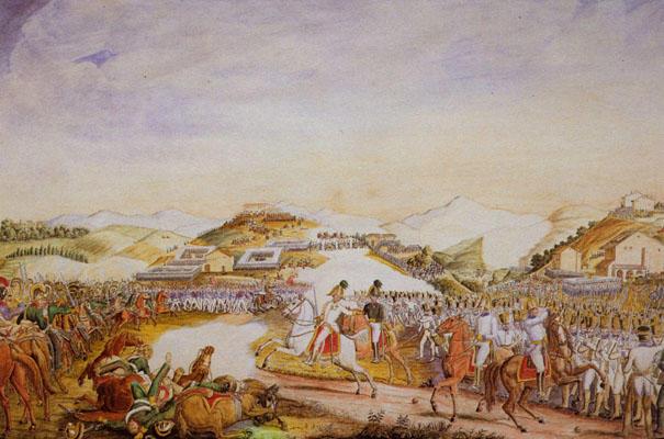 Battaglia di Tolentino, Vincenzo Milizia. Sono visibili sullo sfondo le formazioni napoletane che si muovono dalle loro posizioni in formazione a quadrato