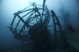Diver at USNS General Hoyt S. Vandenberg wreck off Key West florida keys reefs wrecks