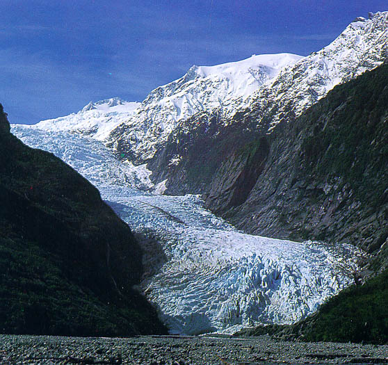 Picture of a glacier filling much of a winding valley.