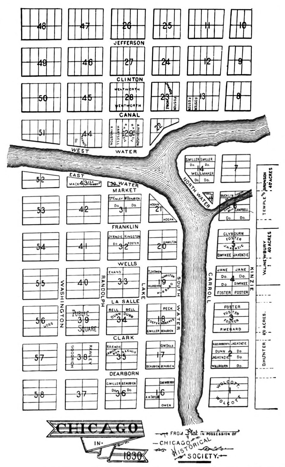 James Thompson Plat of Chicago 1830