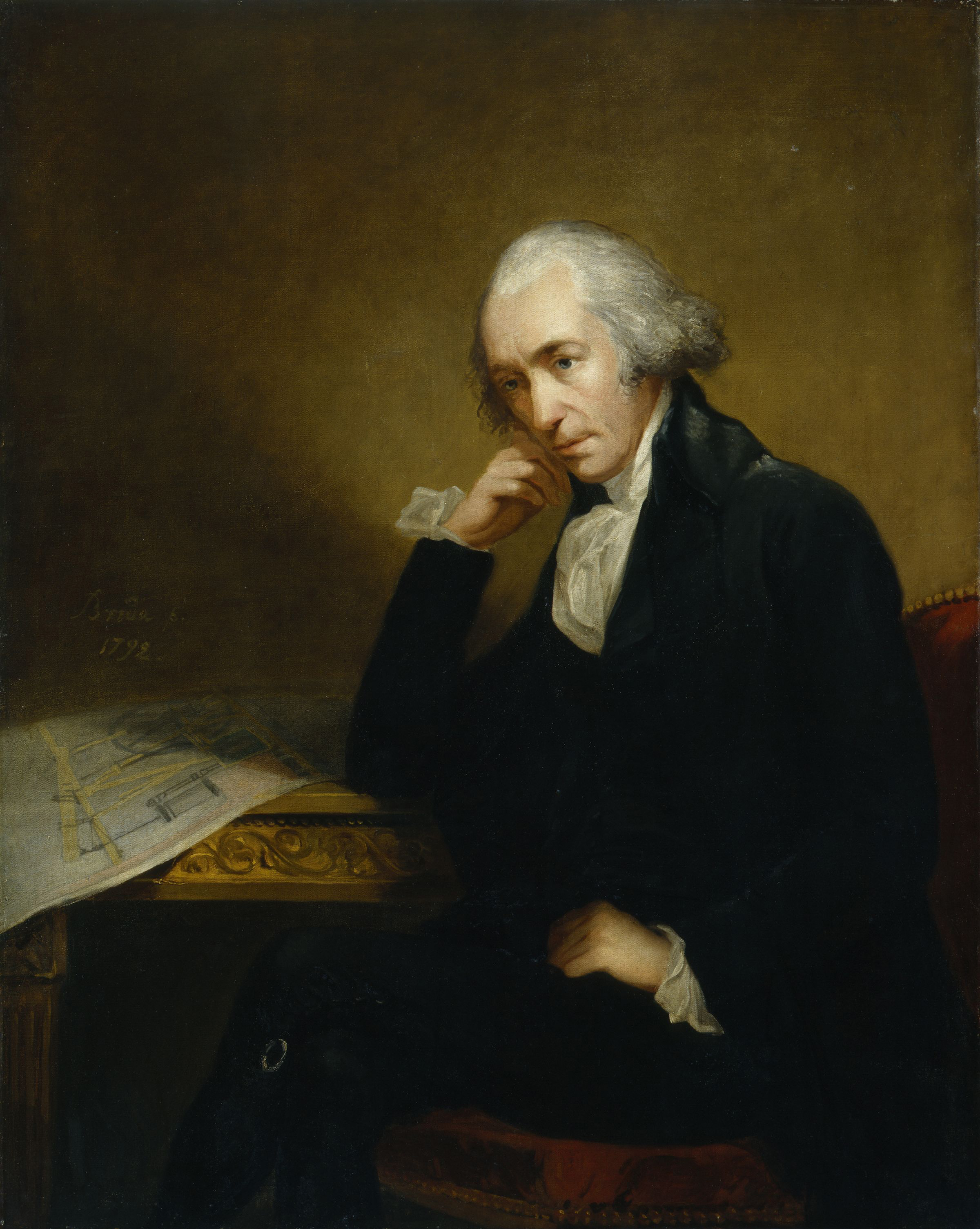 Portrait of James Watt, the noted Scottish inventor and mechanical engineer by Carl Frederik von Breda.