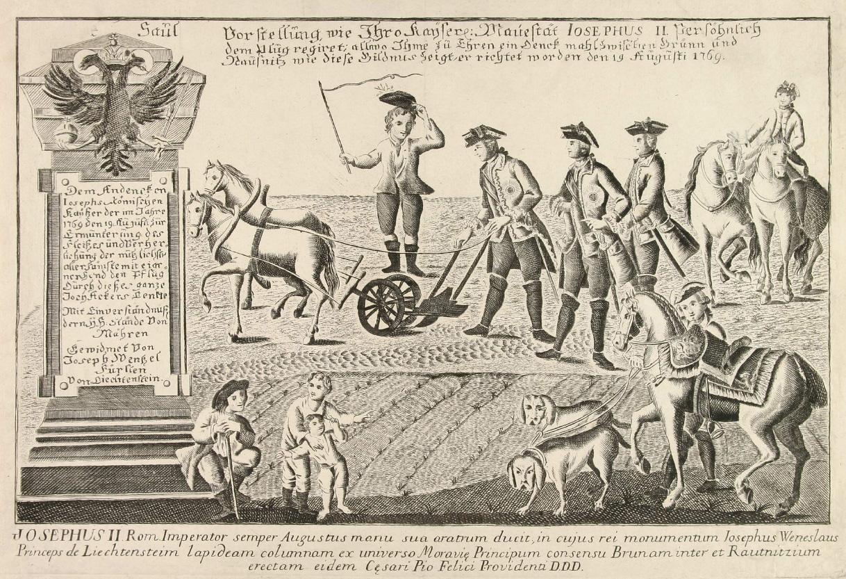 Joseph II is plowing the field near Slawikowitz in rural southern Moravia on 19 August 1769.