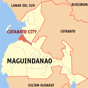 Map of Maguindanao showing the location of Cot...