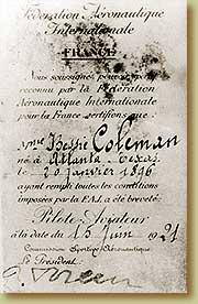 Bessie Colemans pilot licence
