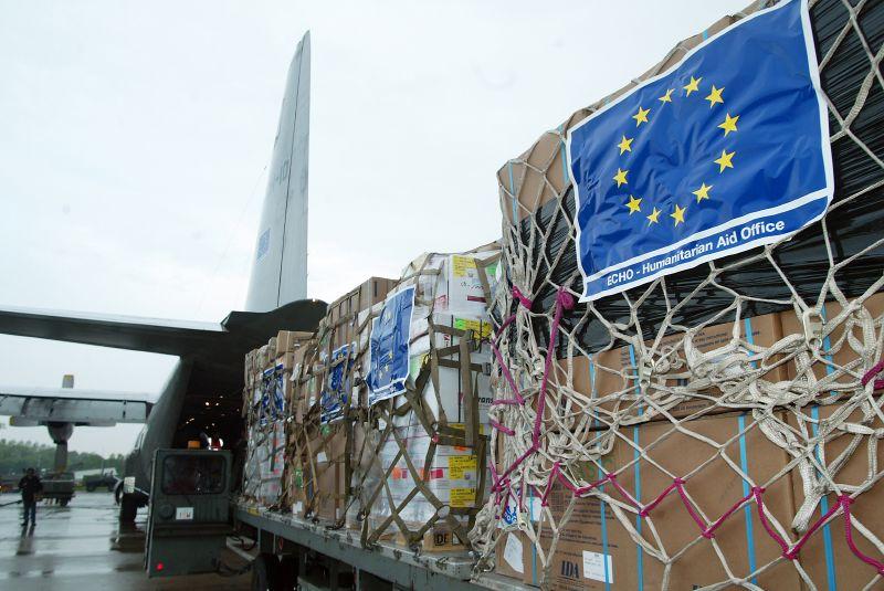 Cargamento con ayuda humanitaria de la Unión Europea.