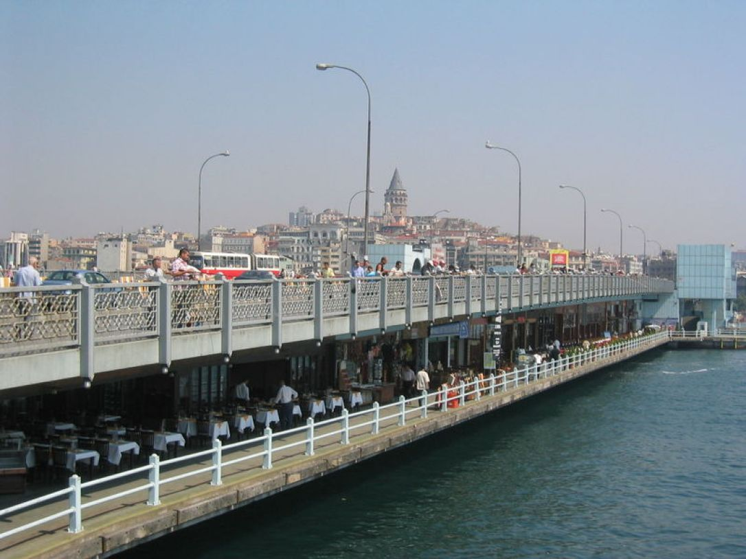A view of the Galata Bridge - underneath are restaurants and souvenir shops. Photo/Wikipedia