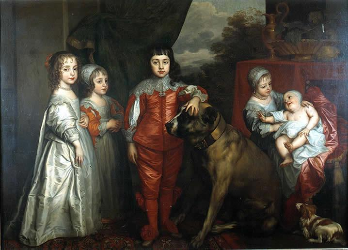 The children of Charles I of England with their dogs, 1637.