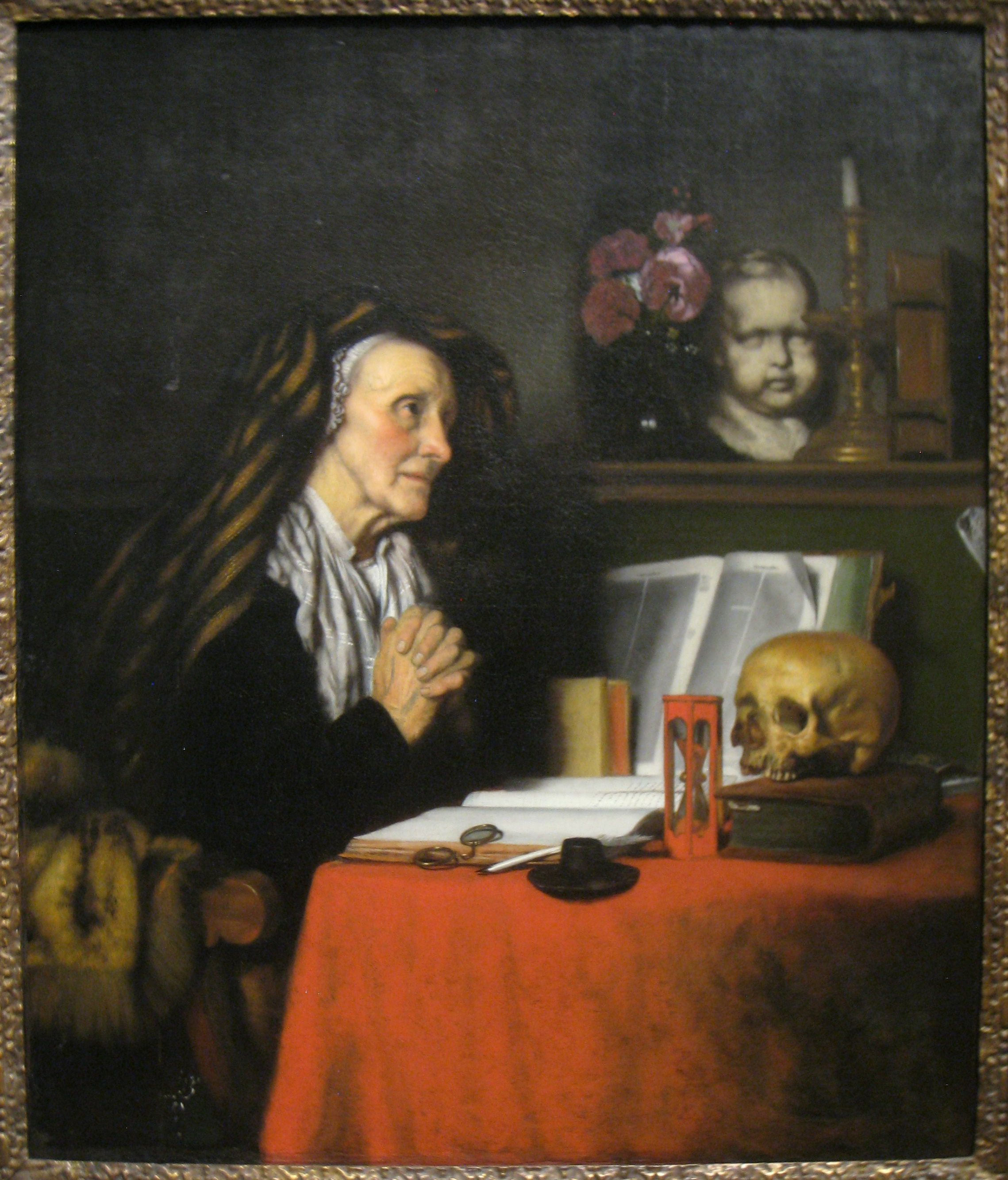 Old woman praying, painting by Nicolaes Maes