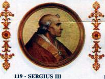 English: Portrait of Pope Sergius III in the B...