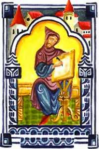 A monk in a scriptorium. Medieval manuscript o...
