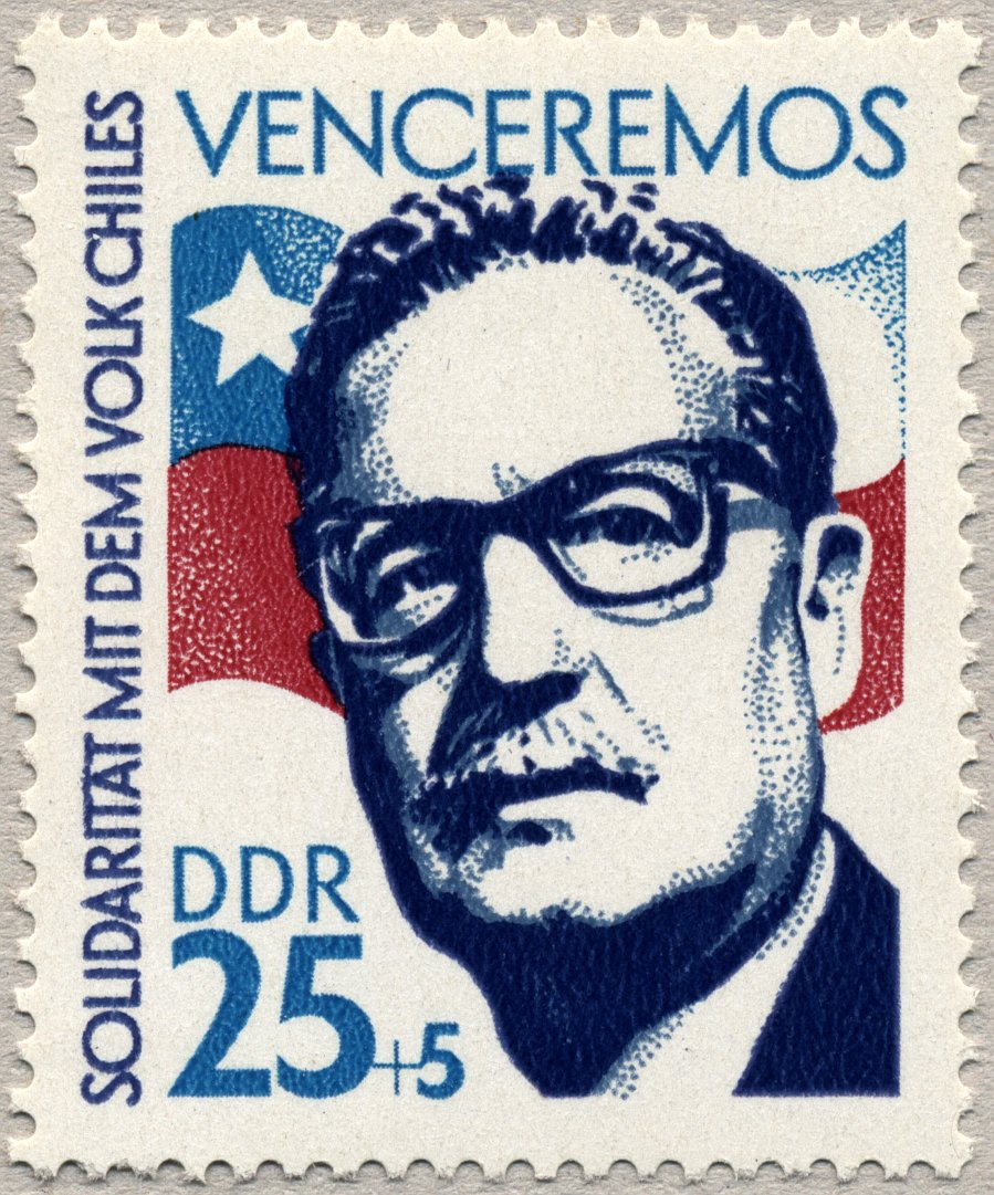 An East German stamp commemorating Allende