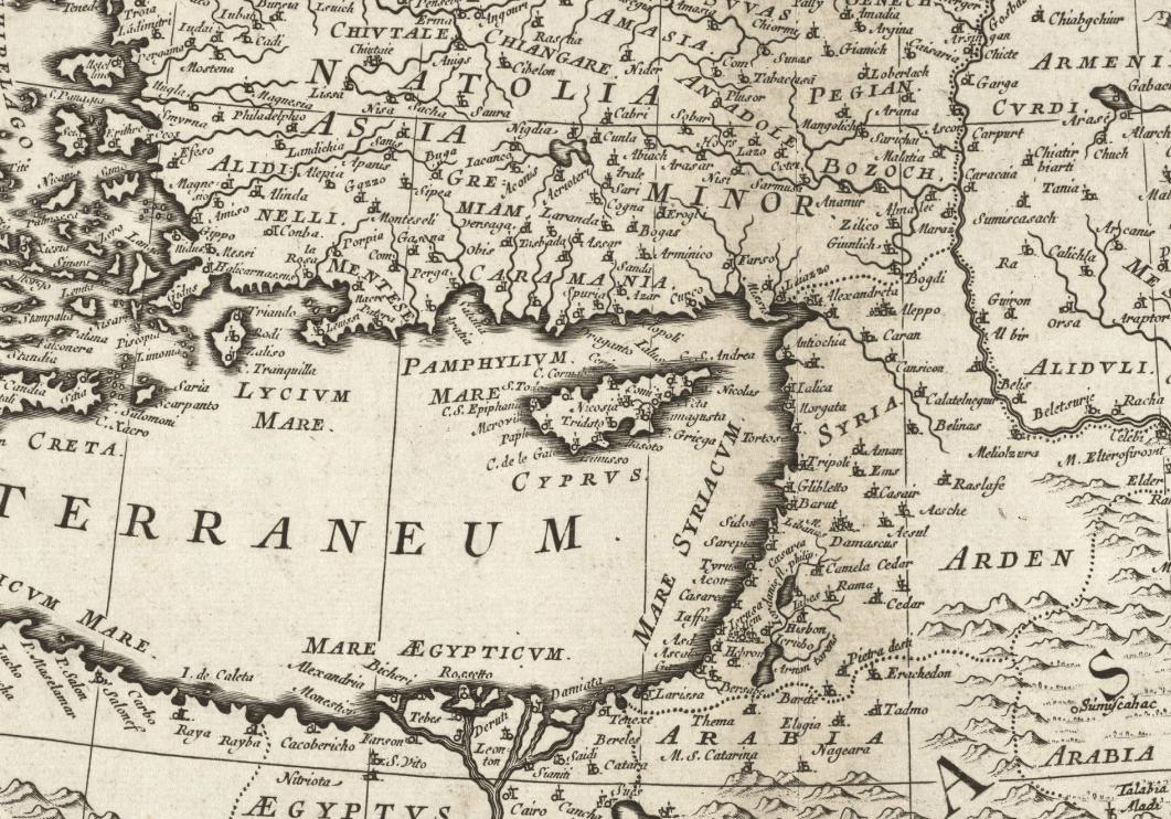 1680 partial map of Mediterranean