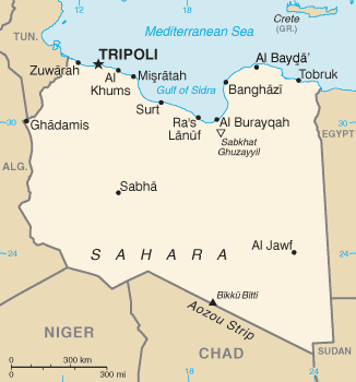 This is a map of Libya - he is in there somewhere.