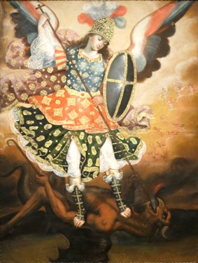 File18th Century Oil On Canvas Titled Saint Michael The