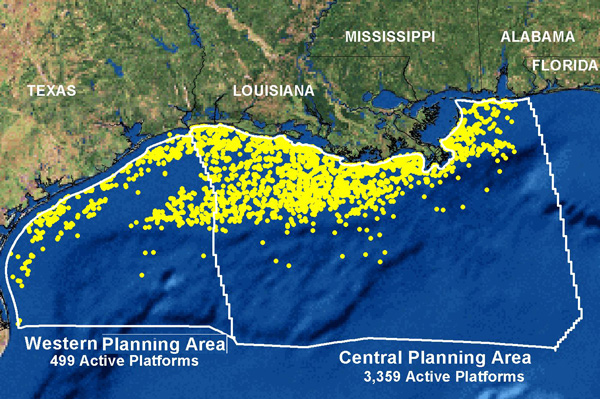 Gulf Coast oil platforms