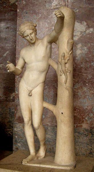 Praksyteles, Apollo Sauroktonos (zabijający jaszczurkę), ok 500 r. p.n.e. (Luwr, Paryż)