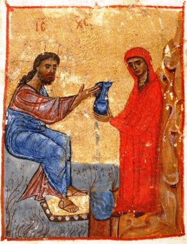 The woman, standing, hands a jar of water to Jesus, seated