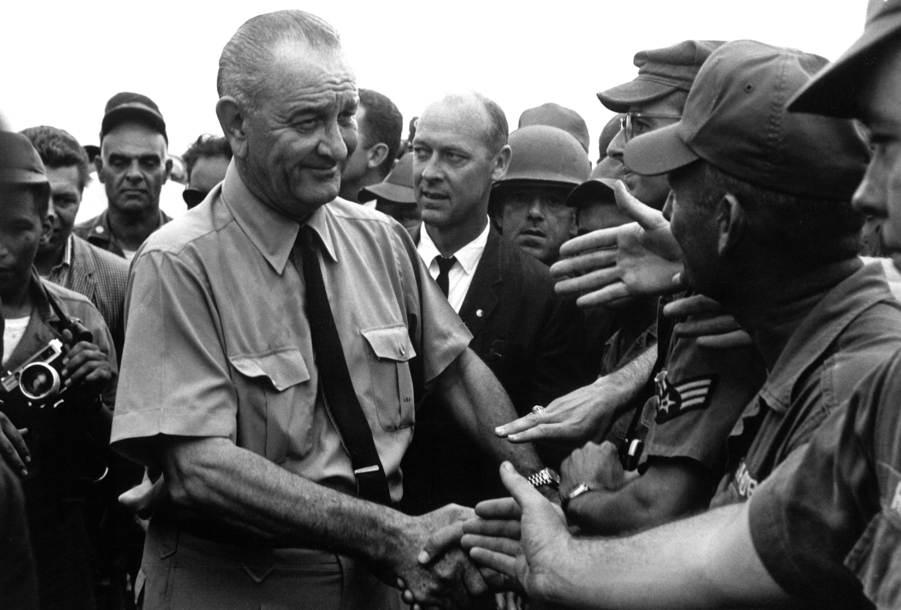 File Lyndon Johnson Greets American Troops In Vietnam