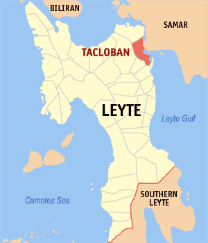 English: Map of Leyte showing the location of ...