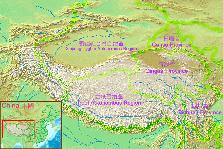 Rivers flowing from China into Burma through the valleys