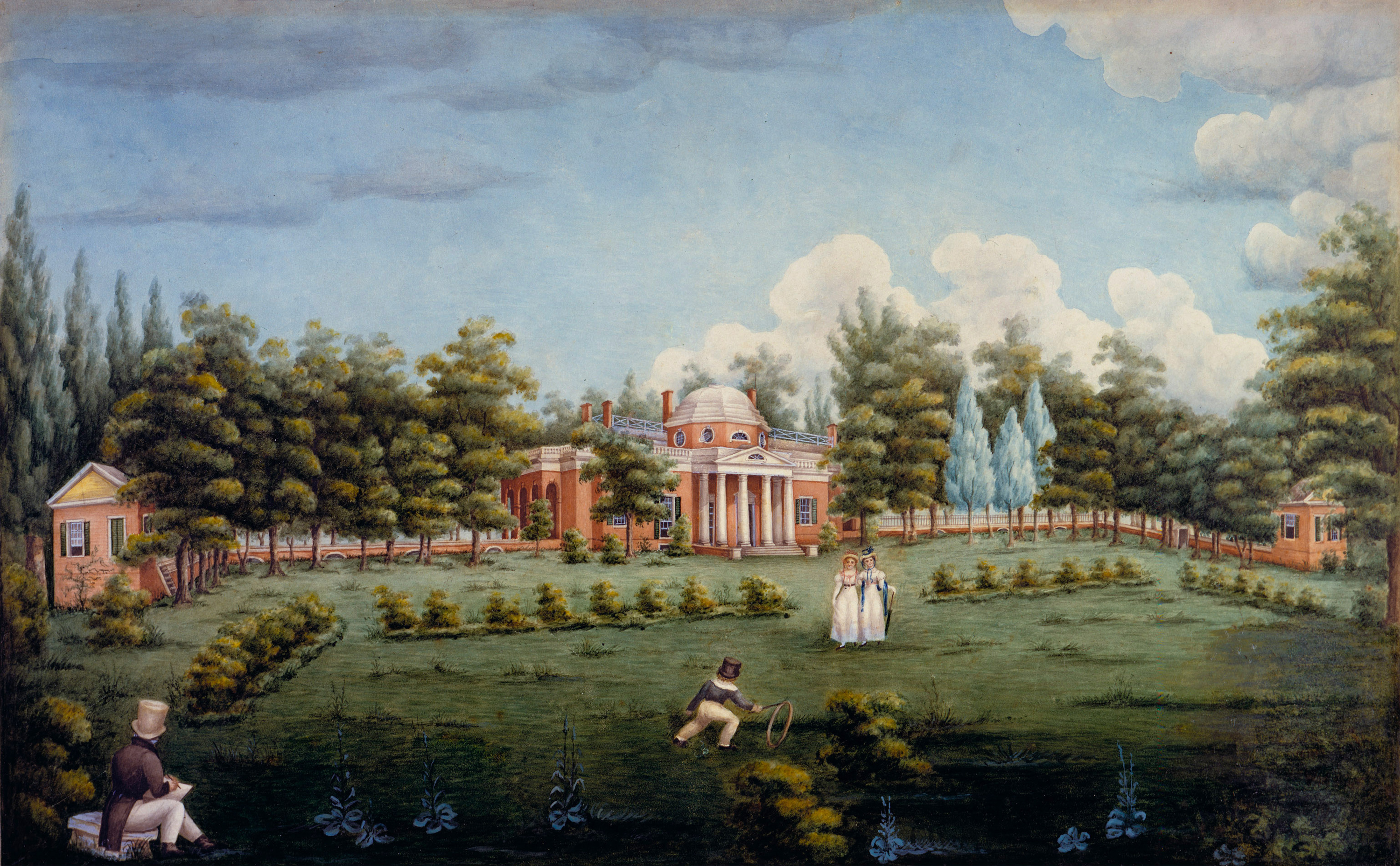 Watercolor View of the West Front of Monticello and Garden (1825) by Jane Braddick. Peticolas. The children are Thomas Jefferson's grandchildren.