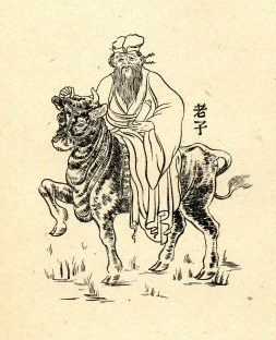 Picture of a monochrome painting depicting Laozi riding a bull with the merchandise in his right hand.