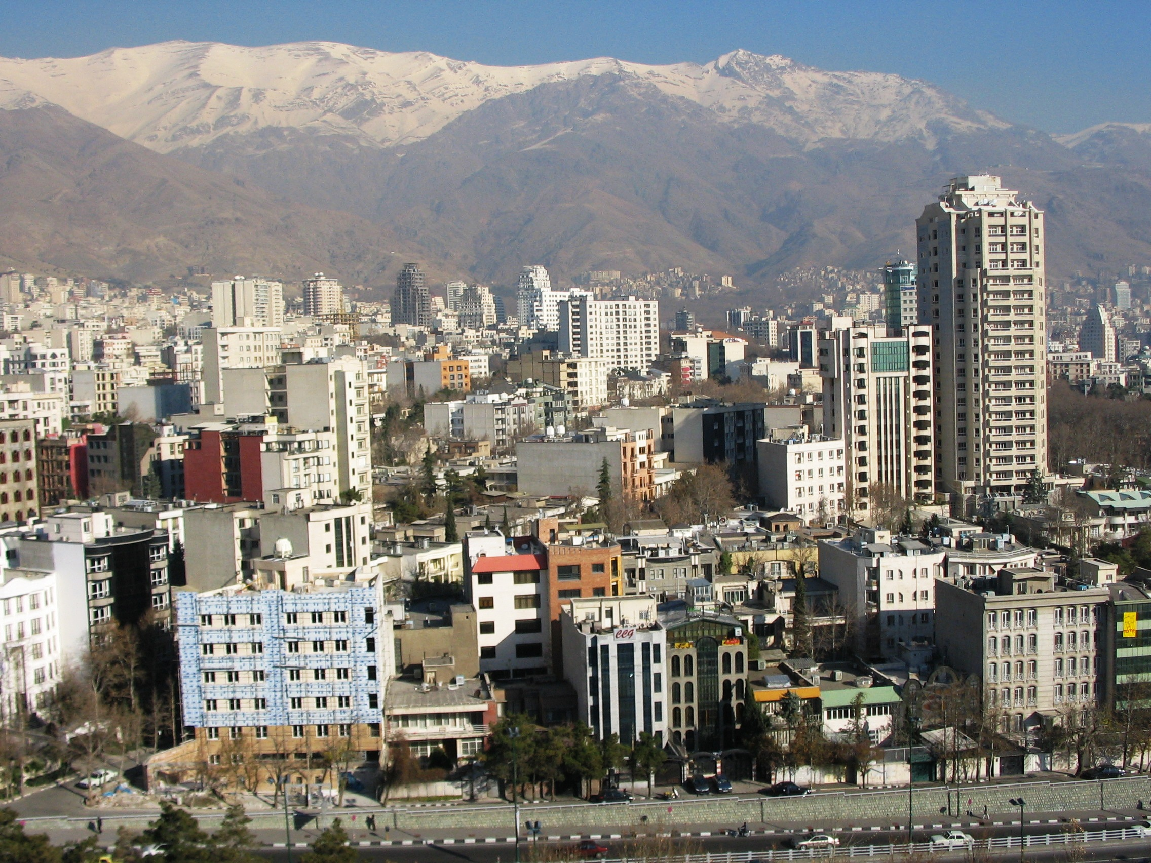 Northern Tehran City with Alborz Mountains in ...