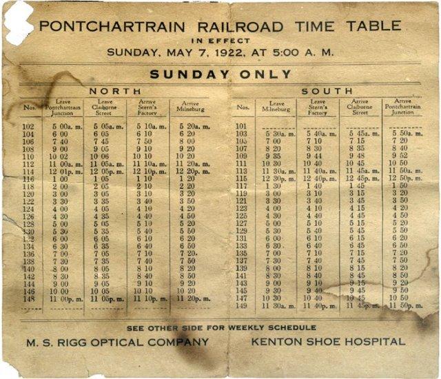 Lịch chạy tàu hỏa tại New Orleans, Mỹ vào đầu thế kỷ 20. Nguồn: Wikimedia