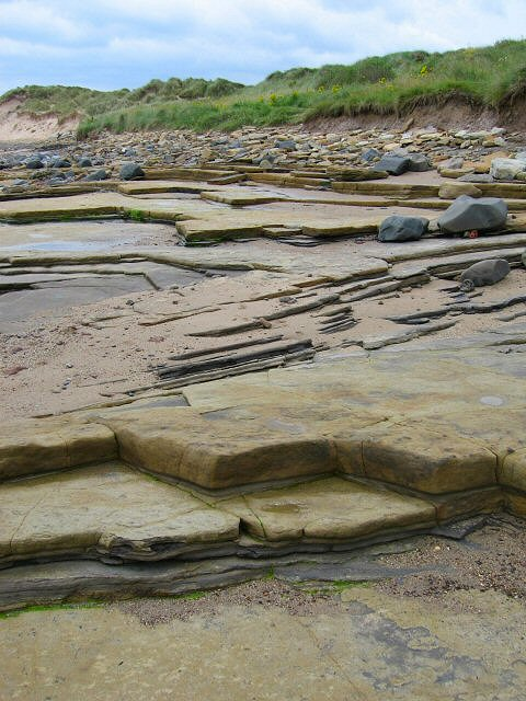 English: Rocky Layers The rock here is in laye...