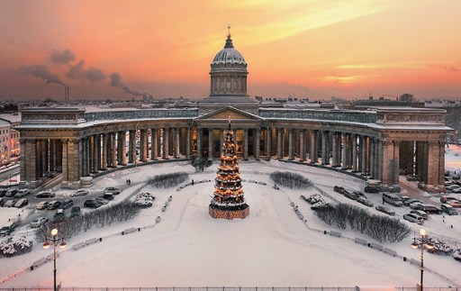 View to Kazan Cathedral by Ivan Smelov