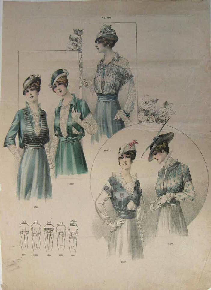 1910 Fashion Plate 1910s Fashion