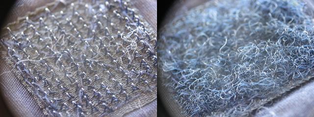 Las dos cintas del cierre de velcro: cinta con ganchos y cinta con fibras enmarañadas en bucle.