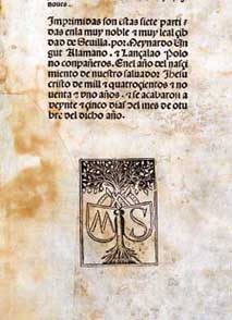 Seal of the printer of the 1491 Seville edition.