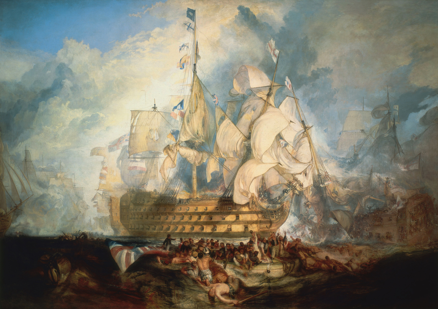 The Battle of Trafalgar by J. M. W. Turner (oil on canvas, 1822–1824)