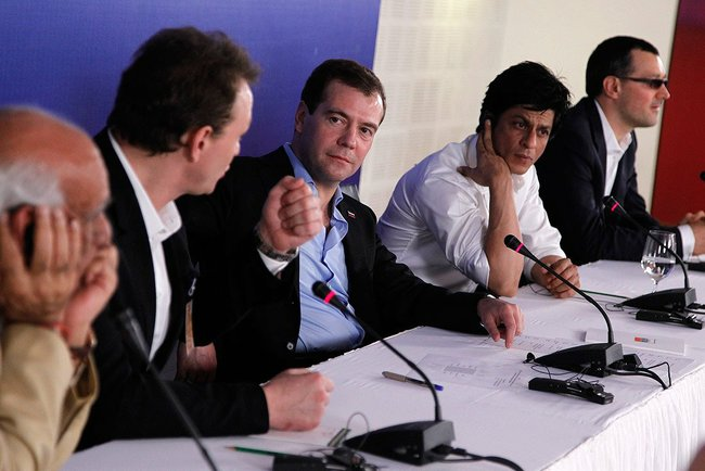 President Dimitry Medvedev, , Yash Chopra, Shahrukh Khan at press conference.