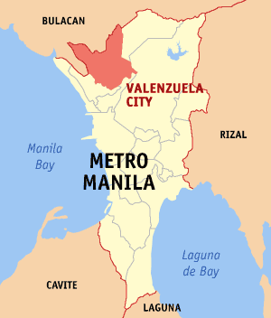 Map of Metro Manila showing the location of Va...