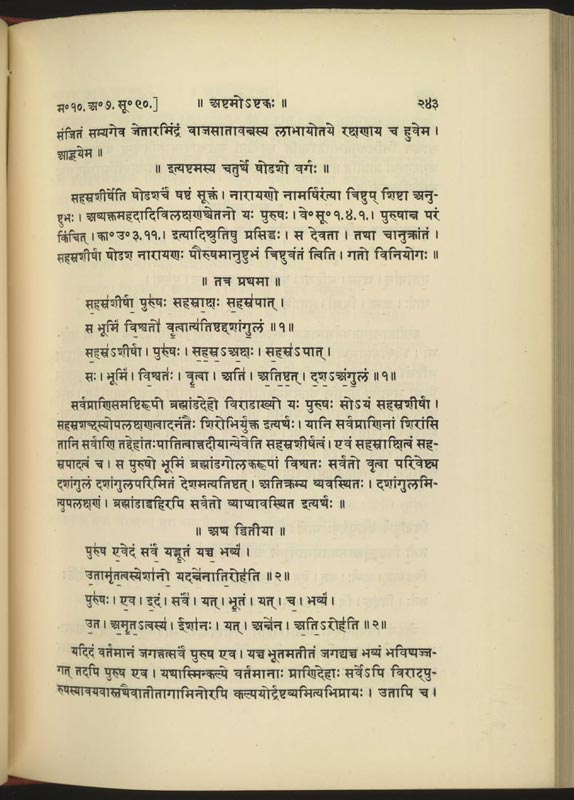 The first two verses of the Purusha sukta (Suk...